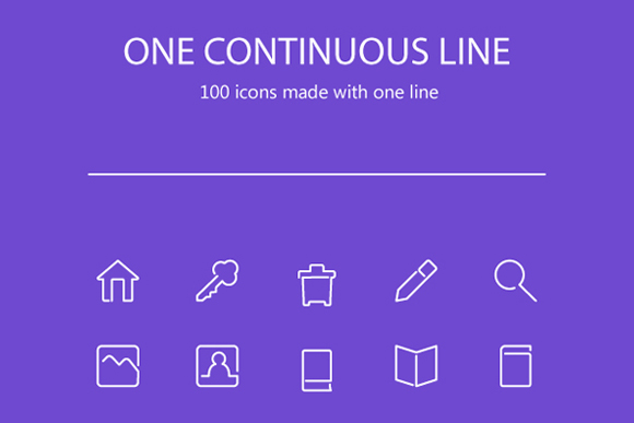100 Continuous Stroke Icons