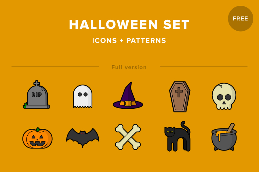 Halloween Icon Pattern Set - Free Design Resources