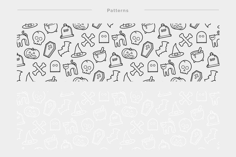 Halloween Icon Pattern Set