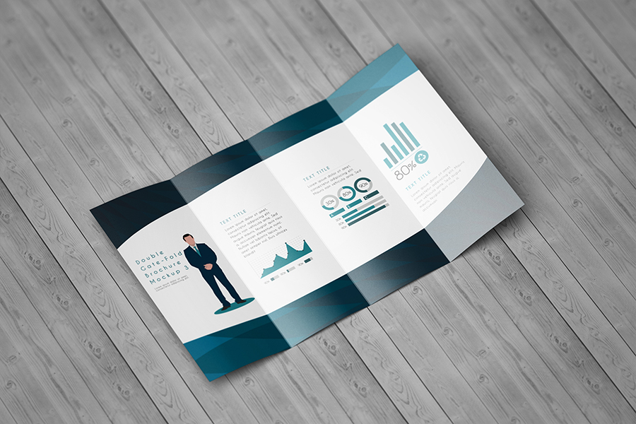 Double Gatefold Brochure Mockup  Free Design Resources