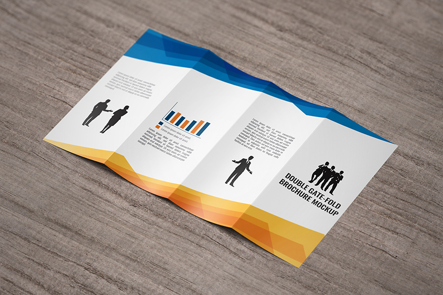Double gatefold brochure mockup free design resources for Double gate fold brochure template