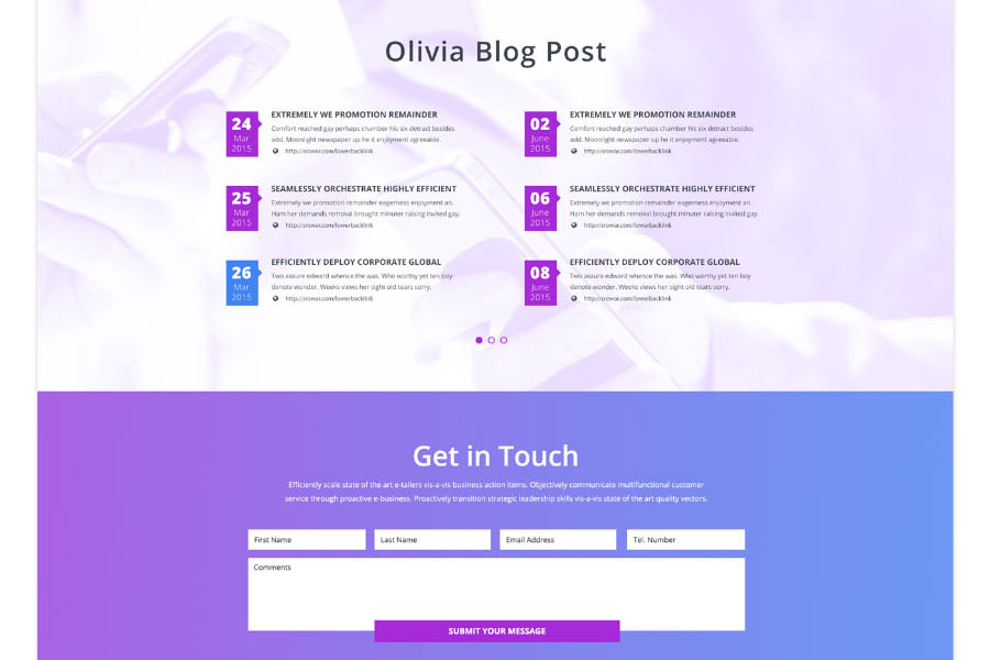 Olivia Free One Page Landing Design