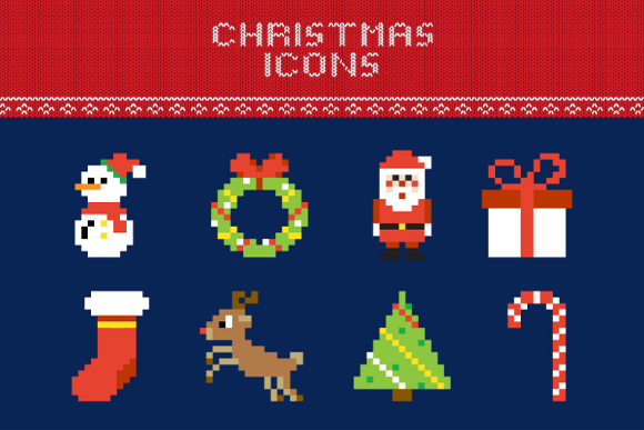Free Christmas Pixel Vector Icons