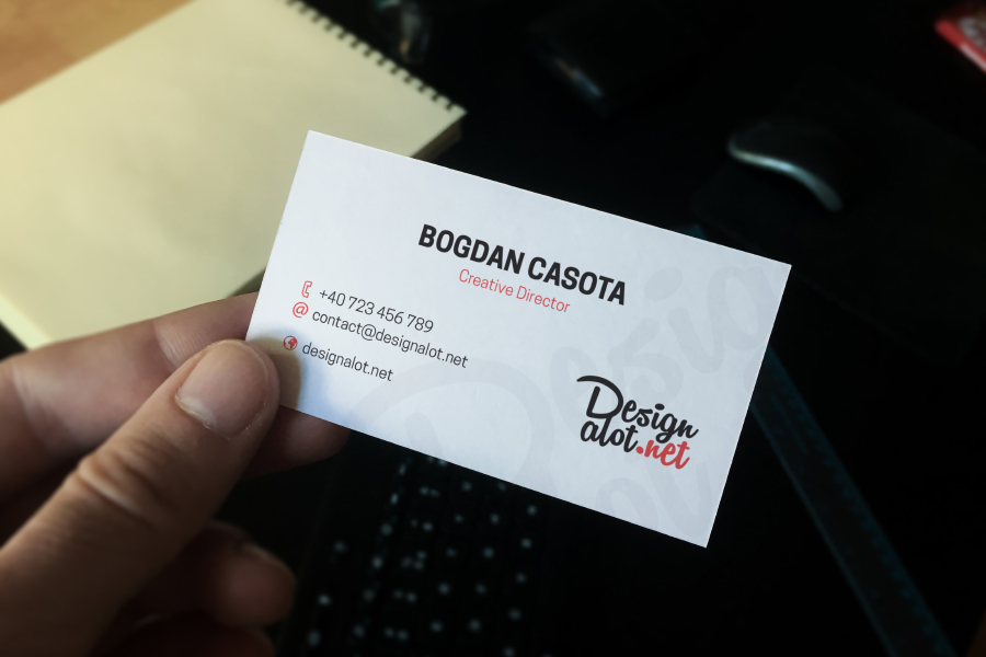 Business Card in Hand Mockup Sample — Free Design Resources