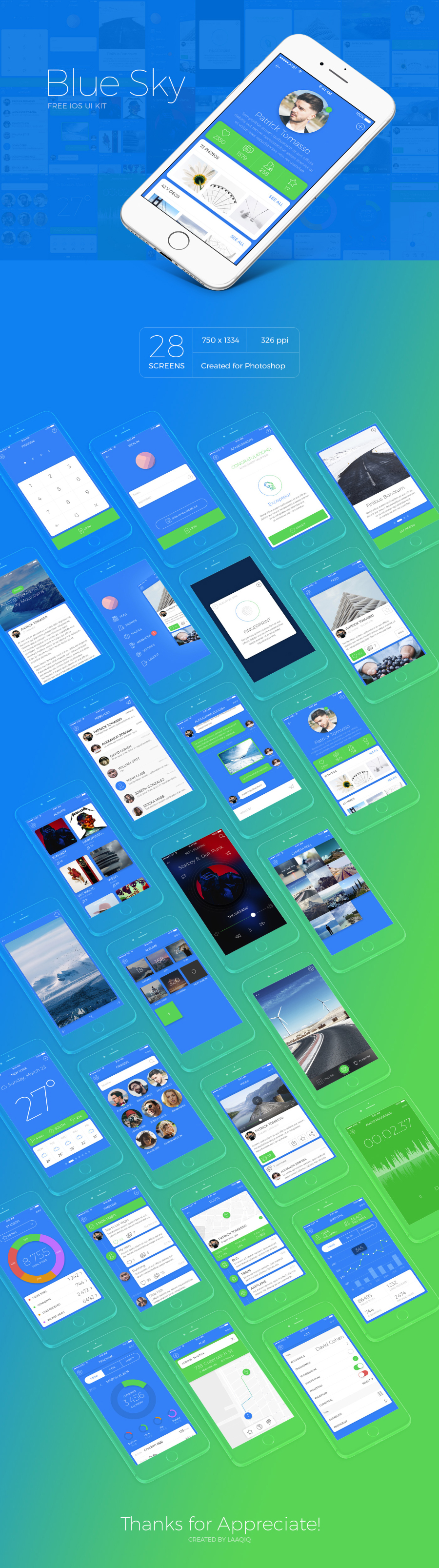 Blue Sky Free iOS UI Kit