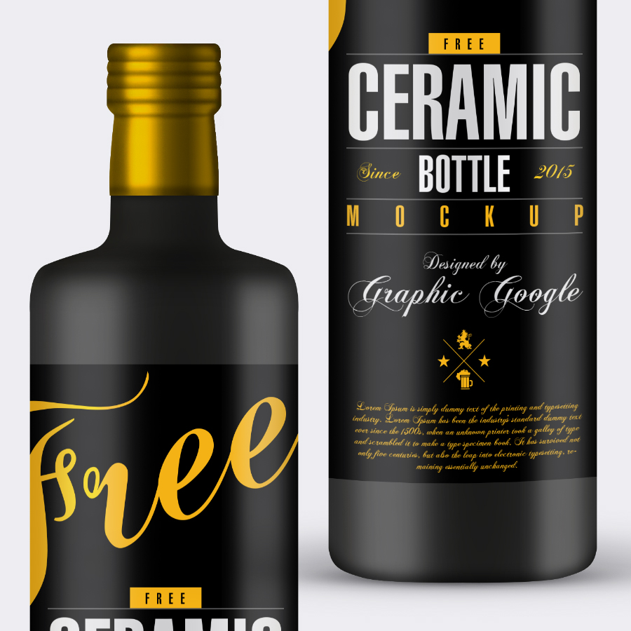 Free Ceramic Bottle PSD Mockup