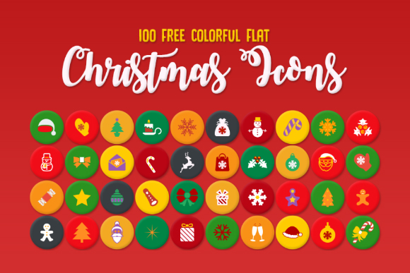 100 Free Colorful Flat Christmas Icons