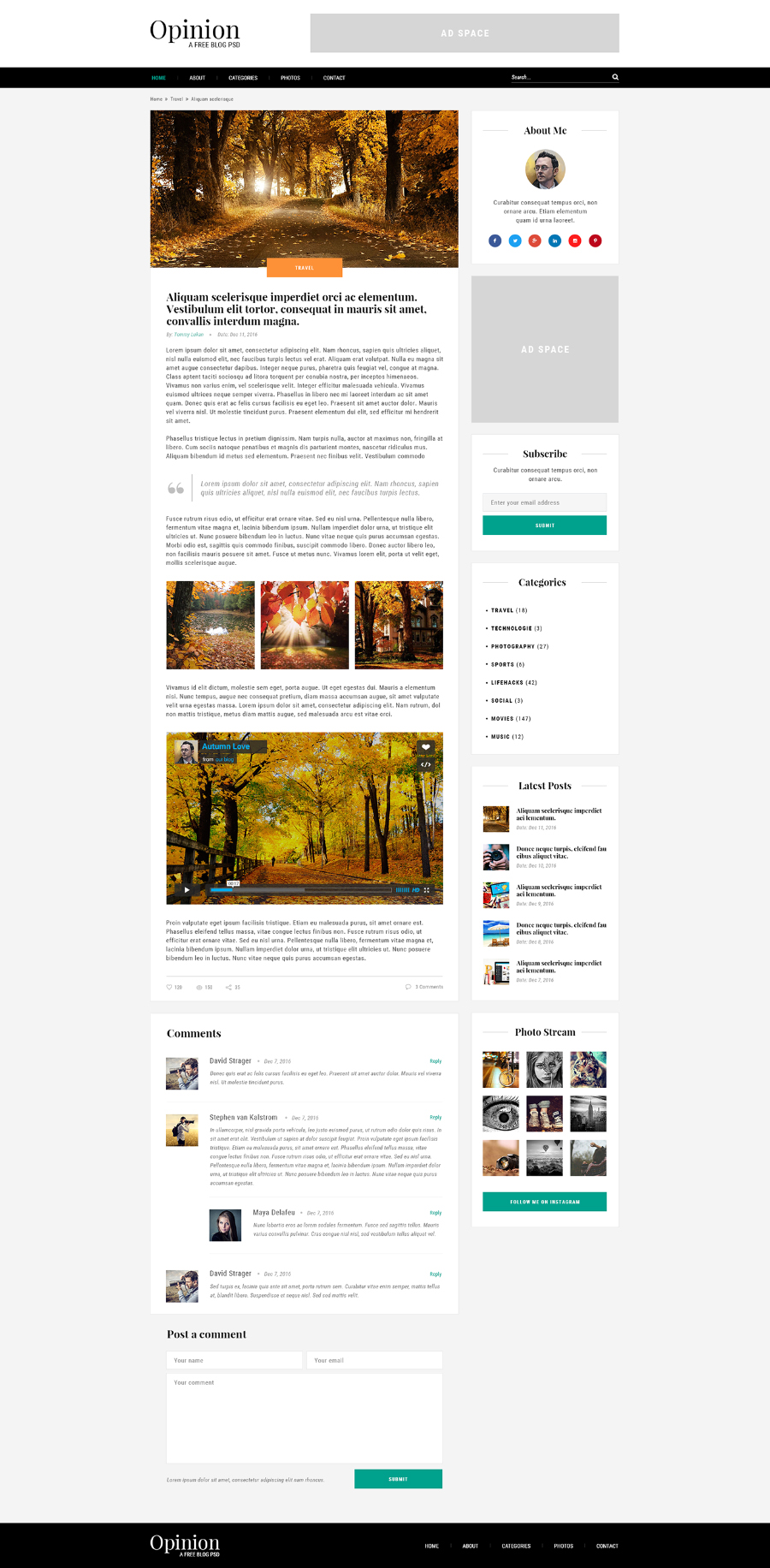 Opinion Free Blog PSD Template - Free Design Resources