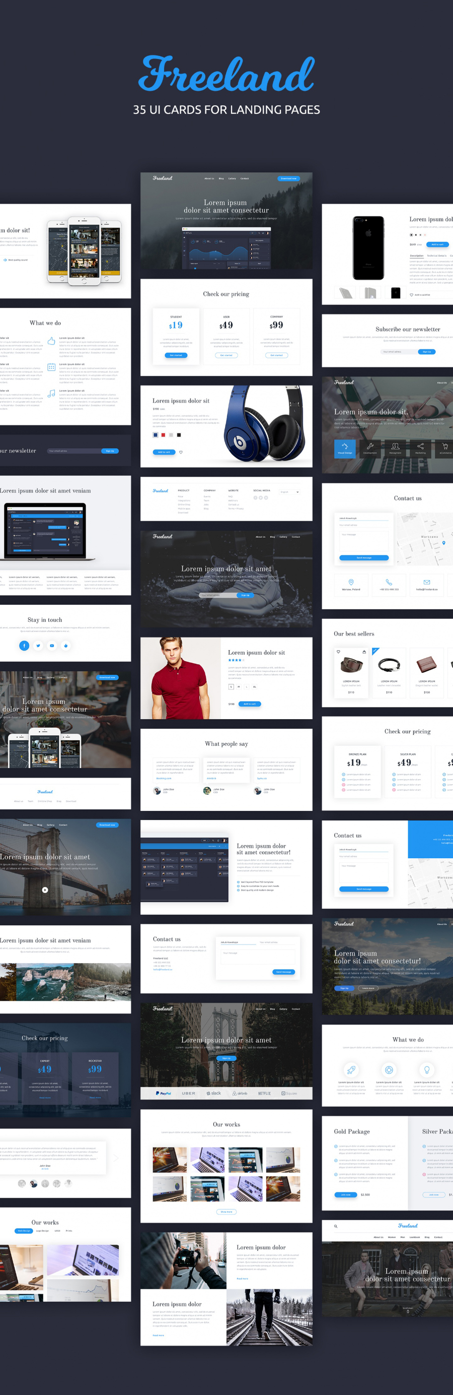 Freeland 35 Landing Pages UI Kit