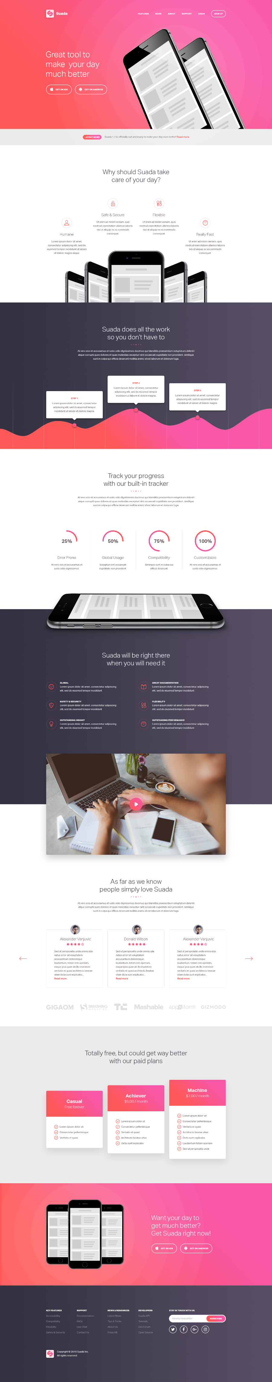 Free PSD Mobile App Landing Page