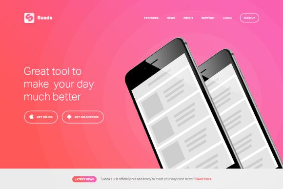 Free PSD Mobile App Landing Page