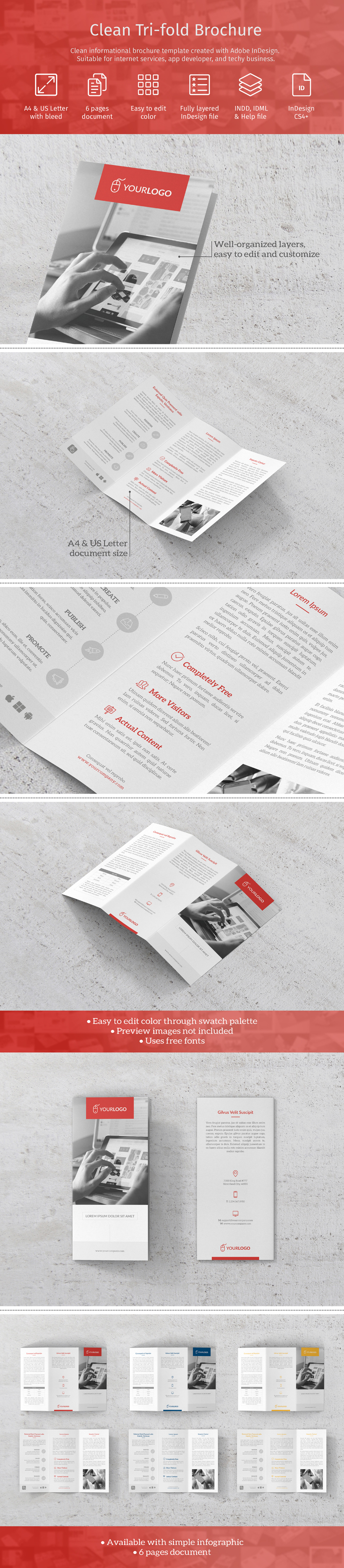 Free Clean Trifold Brochure Template Free Design Resources - Free indesign tri fold brochure templates