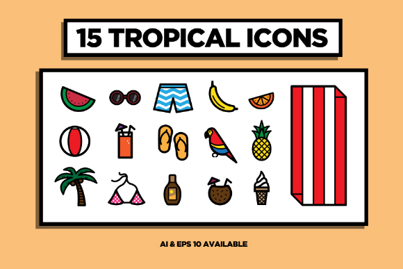15 Free Tropical Vector Icons
