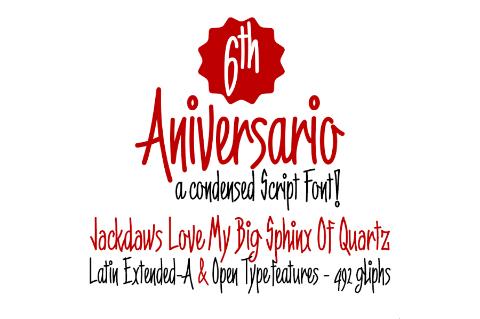 6th Anniversary Narrow Script