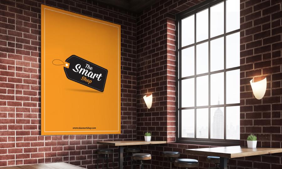 Free restaurant indoor poster mockup — design resources