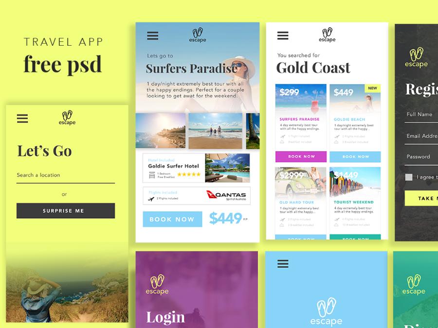 Free PSD Travel App UI Kit