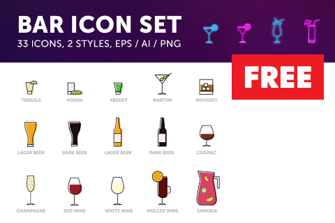 Free Bar Drinks Vector Iconset