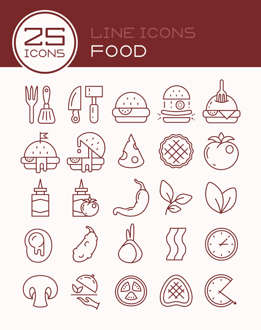 25 Free Vector Food Icons