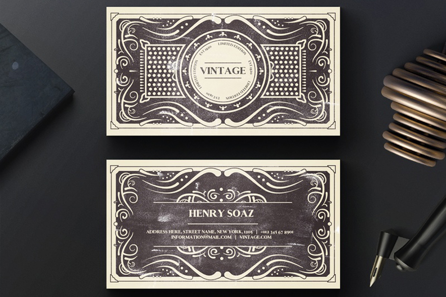 Vintage business card template free design resources vintage business card template cheaphphosting