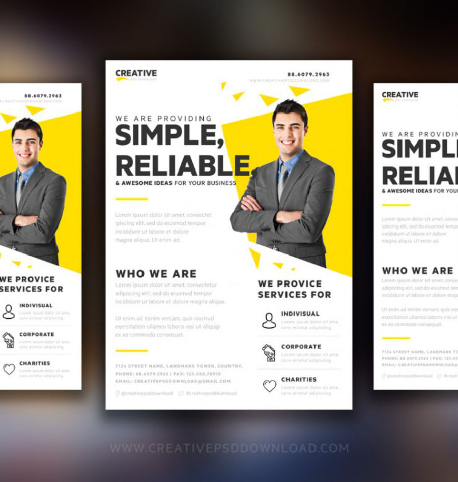 Creative marketing flyer template free design resources for Marketing brochure templates free