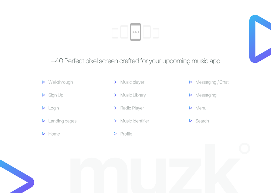 Muzk Mobile UI Kit Demo
