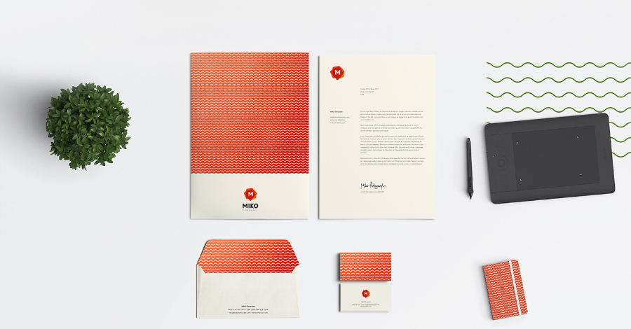 MIKO Free Logo Pattern Stationery Template