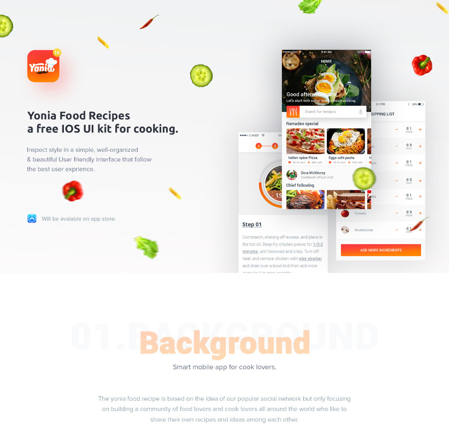 Yonia free food recipe ui kit free design resources yonia free food recipe ui kit is ios mobile app design these tempalte is an app design which will be on app store very soon the author has share the psd forumfinder Gallery