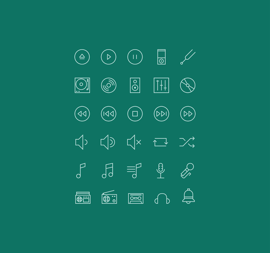 Music – Free Linear Icon Set