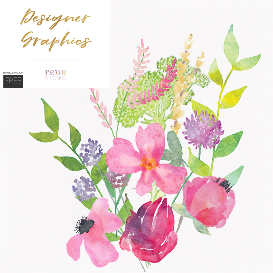 Free Watercolor Flower Elements