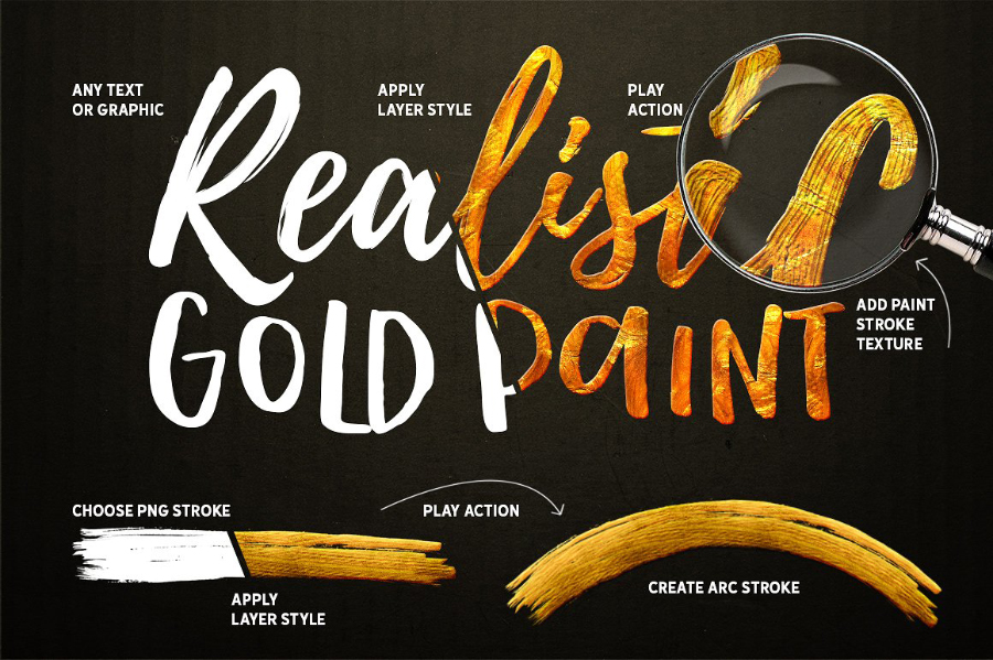 Free Gold Paint Photoshop Effect