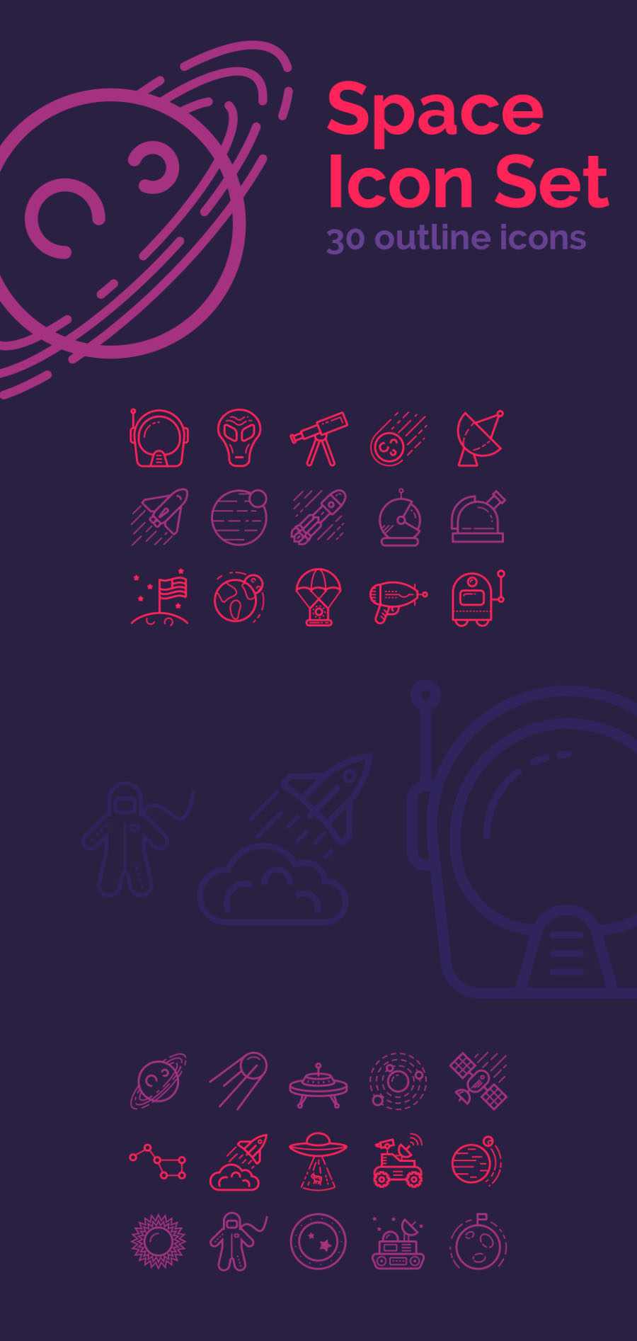 Space – 30 Free Outline Icons