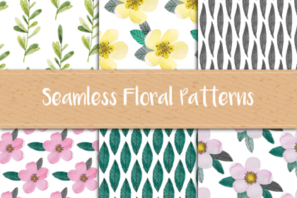 Watercolor Floral Pattern Set