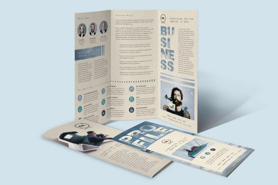 Company profile trifold brochure template free design for Free company profile brochure template