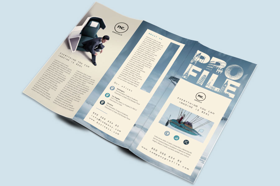 Company Profile Trifold Brochure Template Free Design Resources - Brochure template tri fold