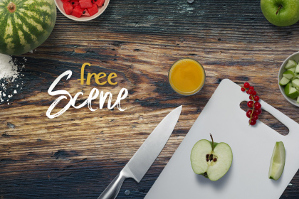 Free Kitchen Mockup Scene