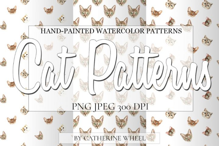 Watercolor Cat Pattern Set