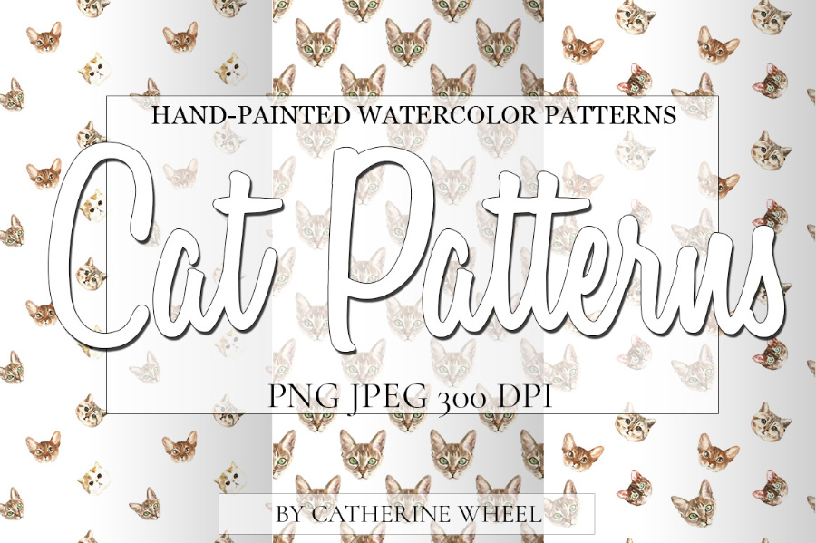 Watercolor Cat Pattern Set