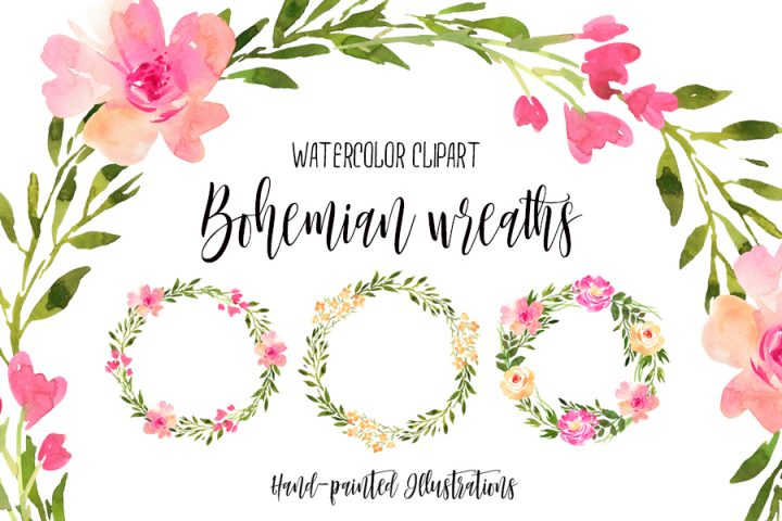 Free Watercolor Bohemian Wreaths