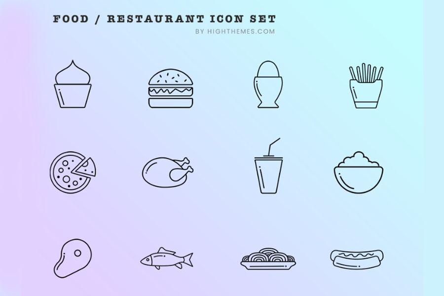 12 Free Food Restaurant Icons