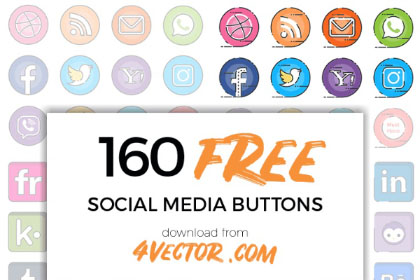 160 Vector Social Media Icons