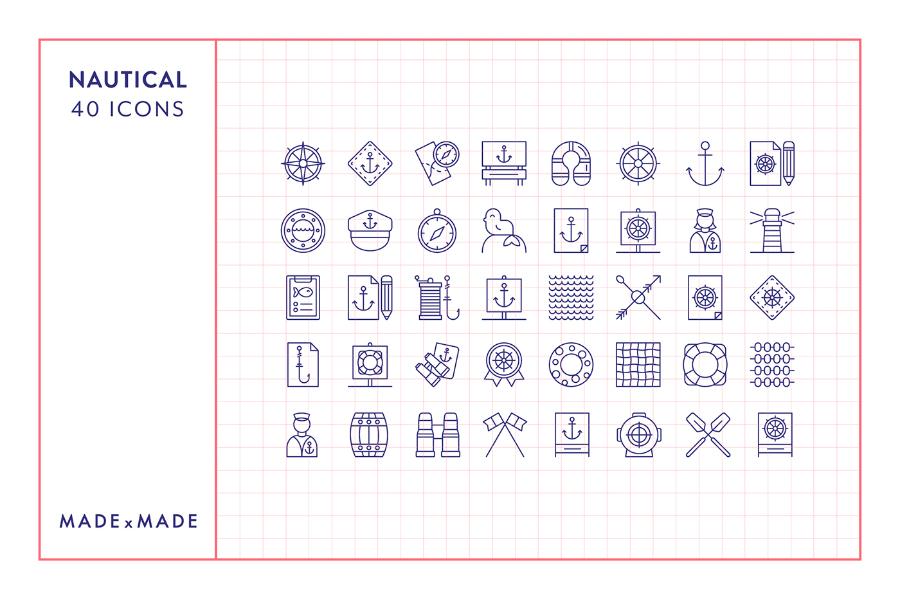 40 Free Nautical Icon Pack
