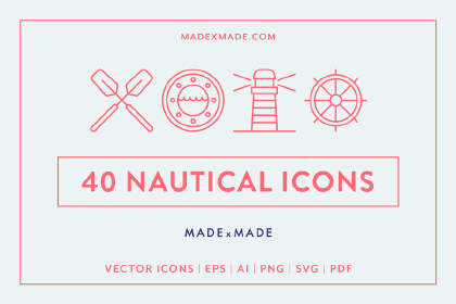 40 Free Nautical Icon Pack
