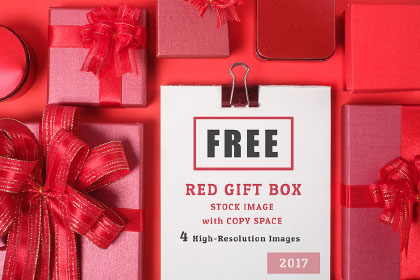5 Red Gift Box Stock Image