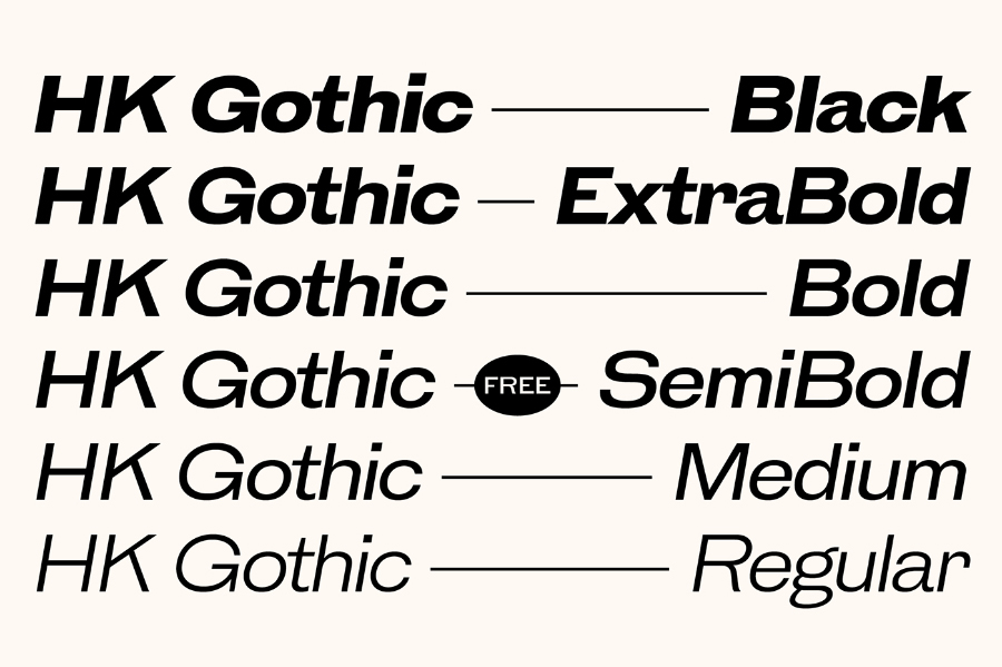 HK Gothic Font Family Demo
