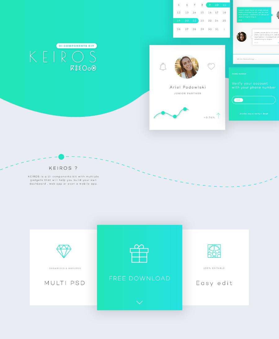 Keiros Free Mobile App UI Kit