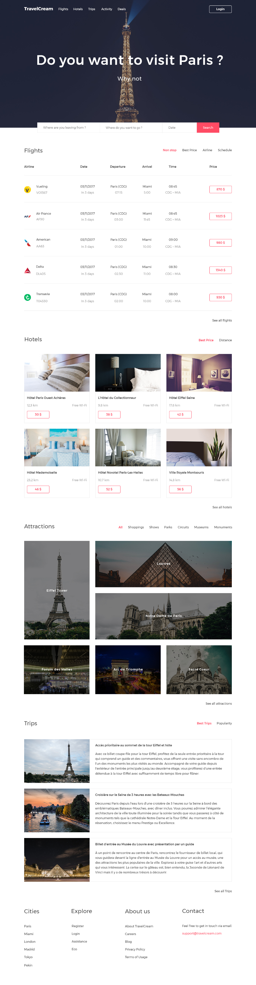 TravelCream Free Landing Page
