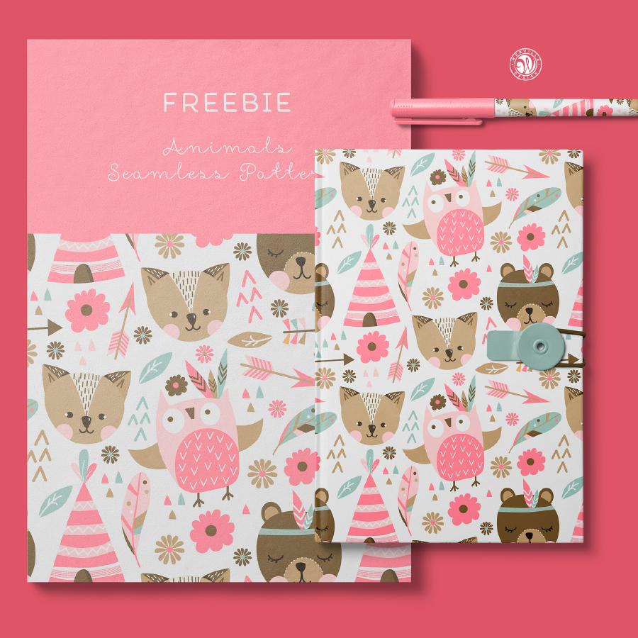 Free Cute Animal Seamless Pattern