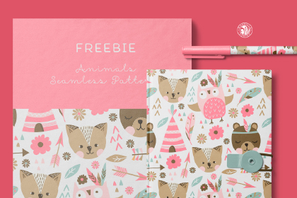 Free Cute Animal Seamless Pattern
