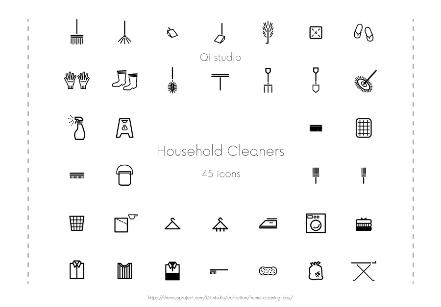 45 Household Cleaner Icons