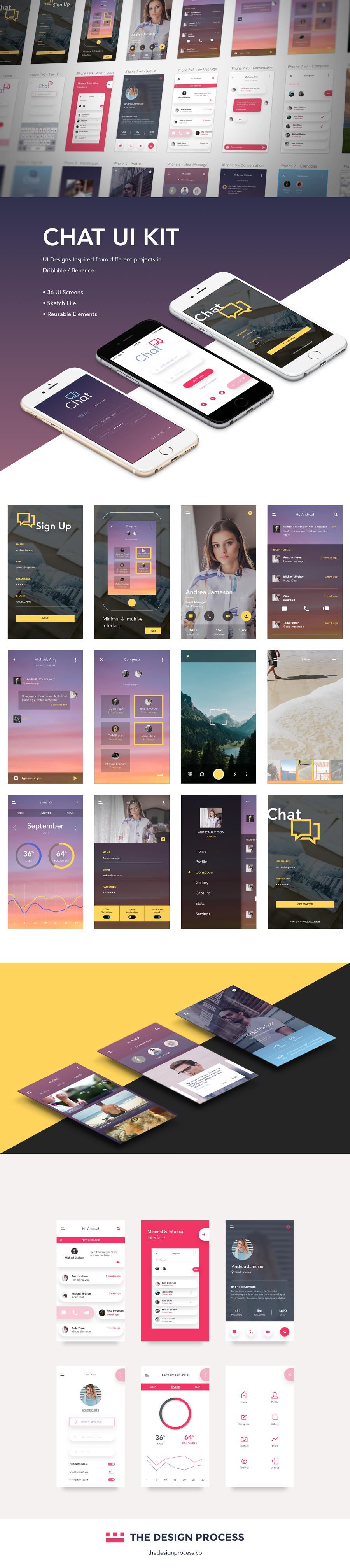 Free Sketch Chat App UI Kit